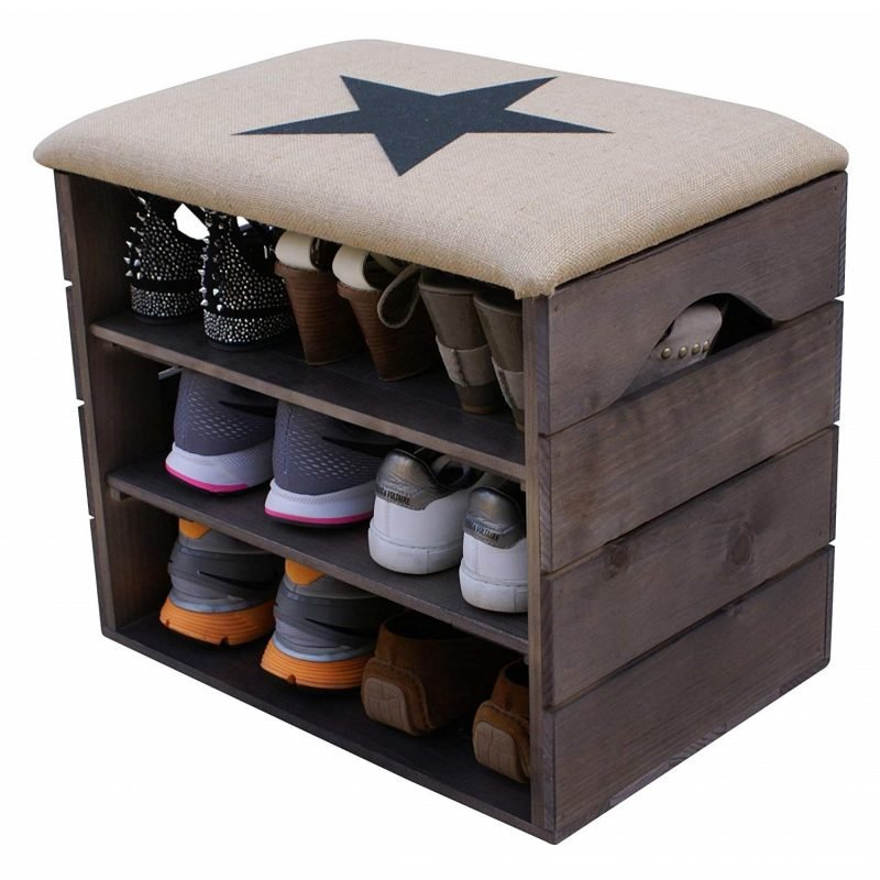 Rustic shoe bench with black star seat cover