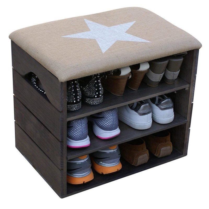Rustic shoe bench with white star seat cover