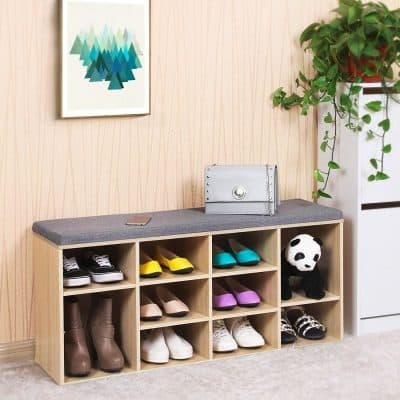 Shoe bench with grey cushion