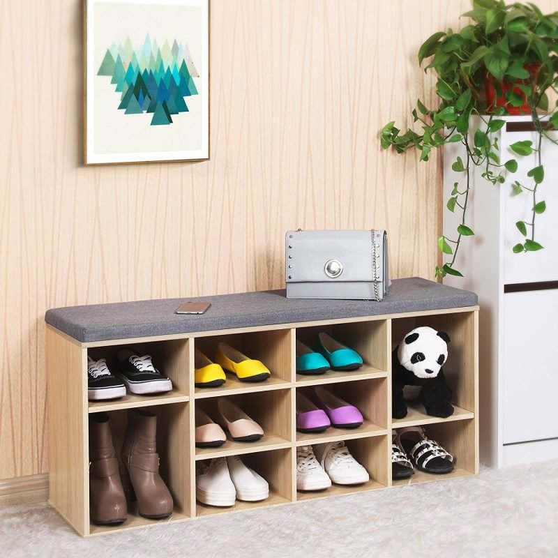 Wood effect shoe bench with grey cushion