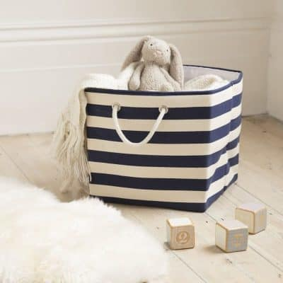 Blue and white striped canvas basket