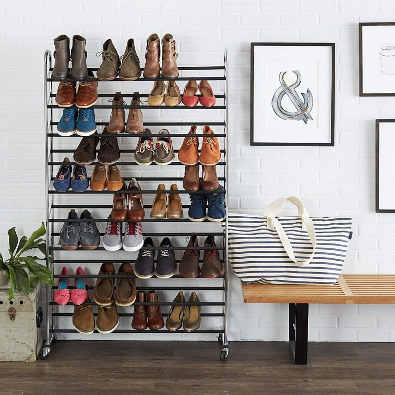 Tall 50 pair shoe rack