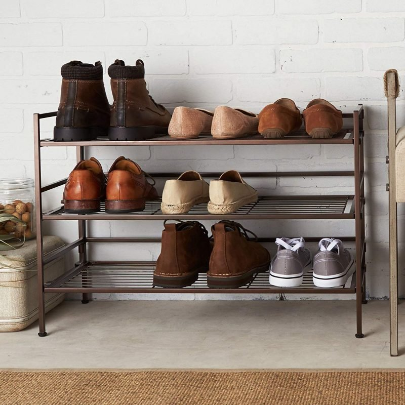 9-pair metal shoe rack