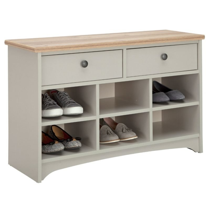 Grey painted shoe bench with 2 drawers