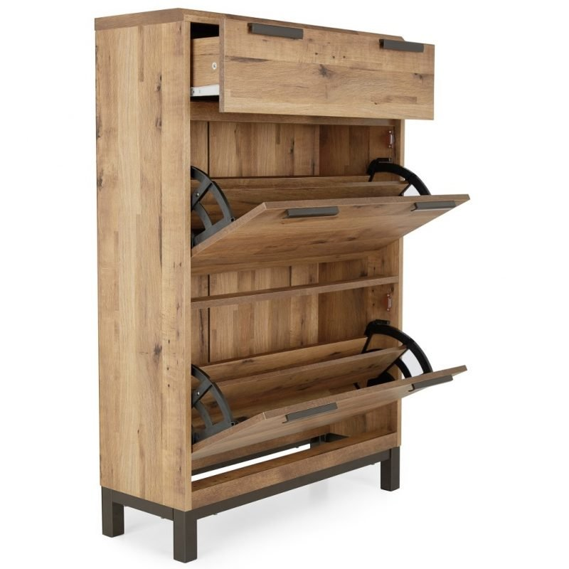 Bronx shoe cabinet with drawers open