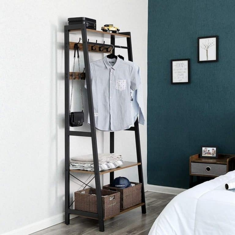 Ladder-styel shelving with clothes rail
