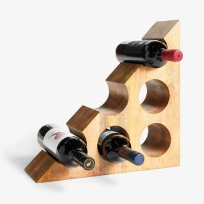 Solid mango wood wine rack