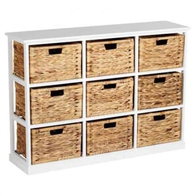 White storage unit with woven baskets