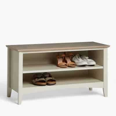 Smoke-grey painted shoe bench