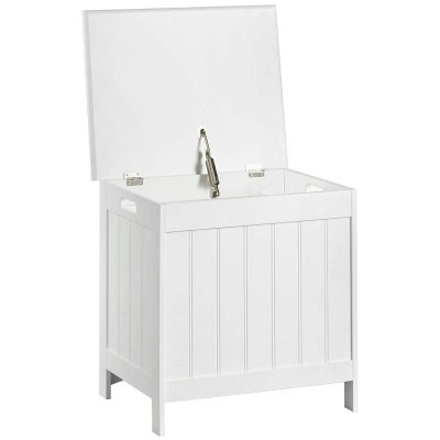 White-painted laundry bin with hinged lid