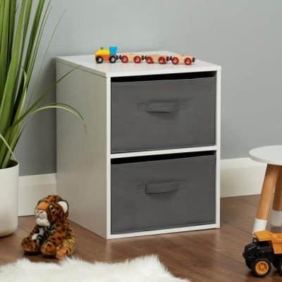 White cube unit with grey canvas drawers