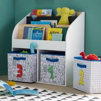 Kid's library-style bookcase with storage baskets