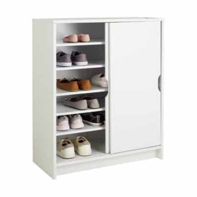 White shoe cupboard with sliding doors