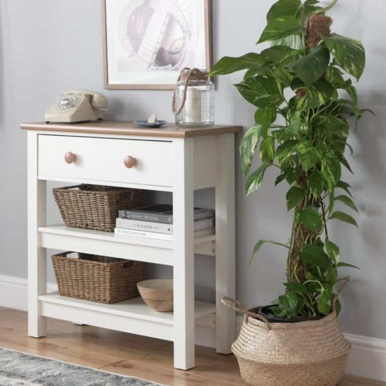 Painted storage console table
