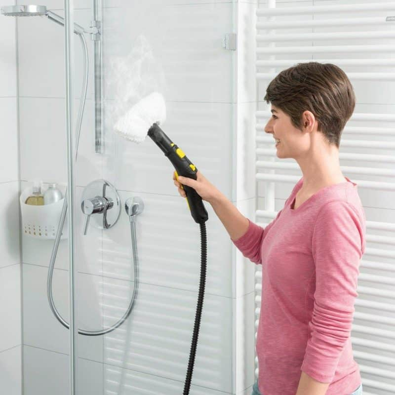 Cleaning shower screen with a steam cleaner attachment