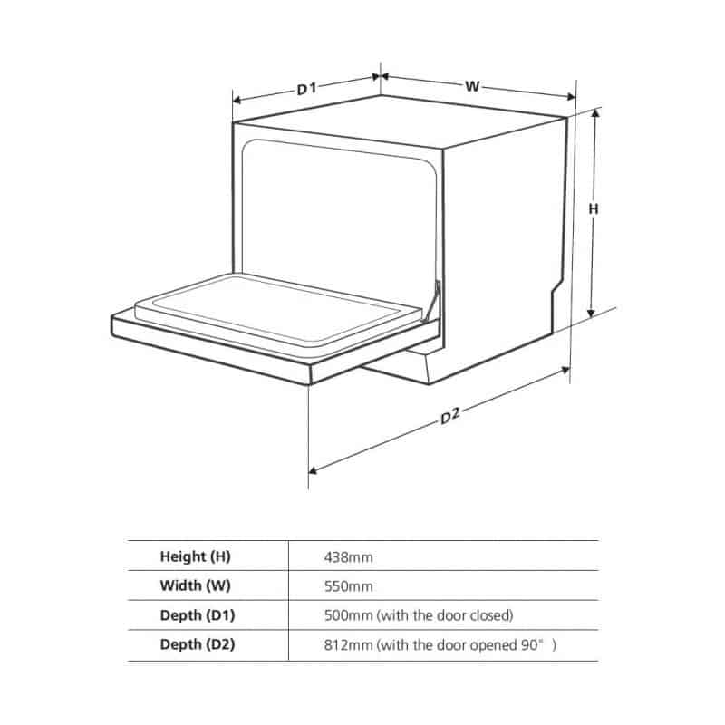 Cookology Counter-Top Dishwasher Dimensions