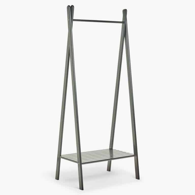 Black-painted clothes rail with shelf