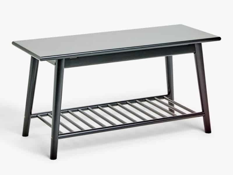 Black painted shoe bench