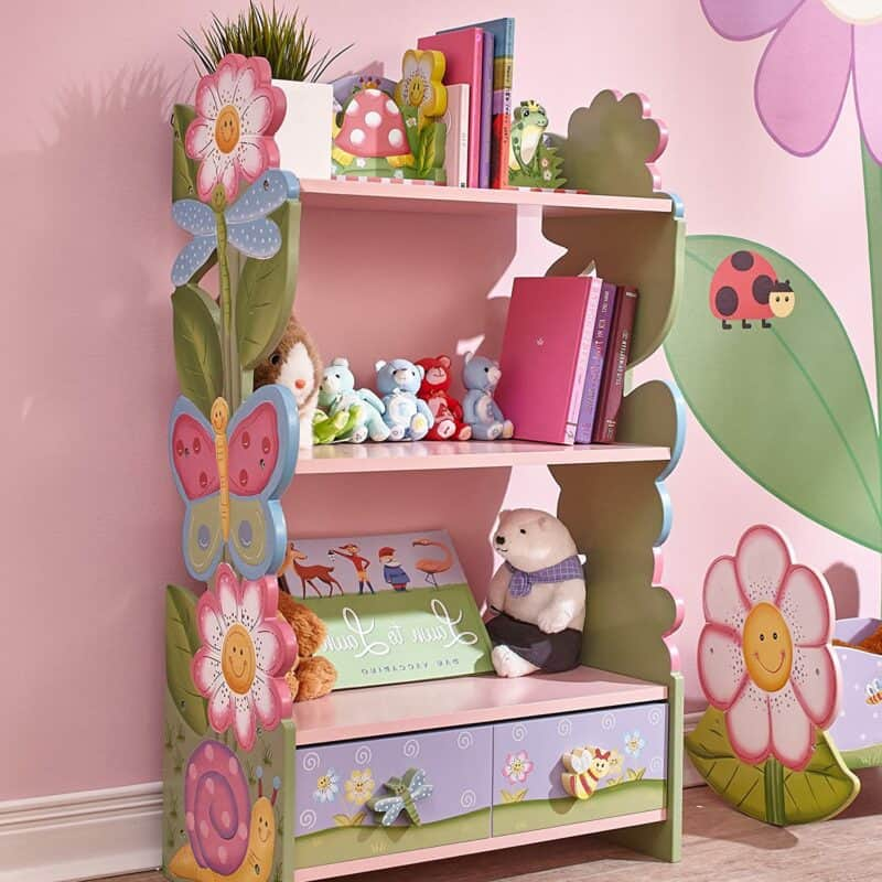 Floral theme bookcase