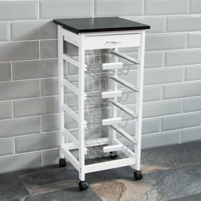 White 4-tier kitchen trolley