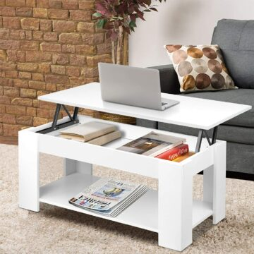 White coffee table with hidden storage