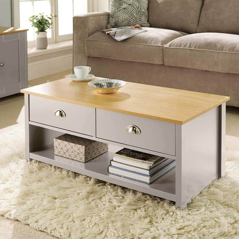 Grey-painted coffee table with oak top