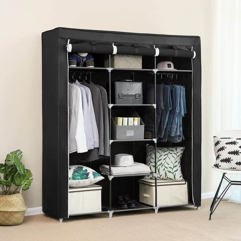 Lightweight wardrobe with fabric cover
