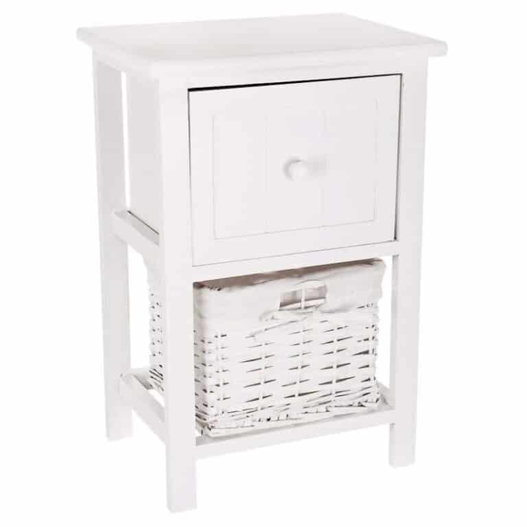 White painted bedside table with drawer and basket