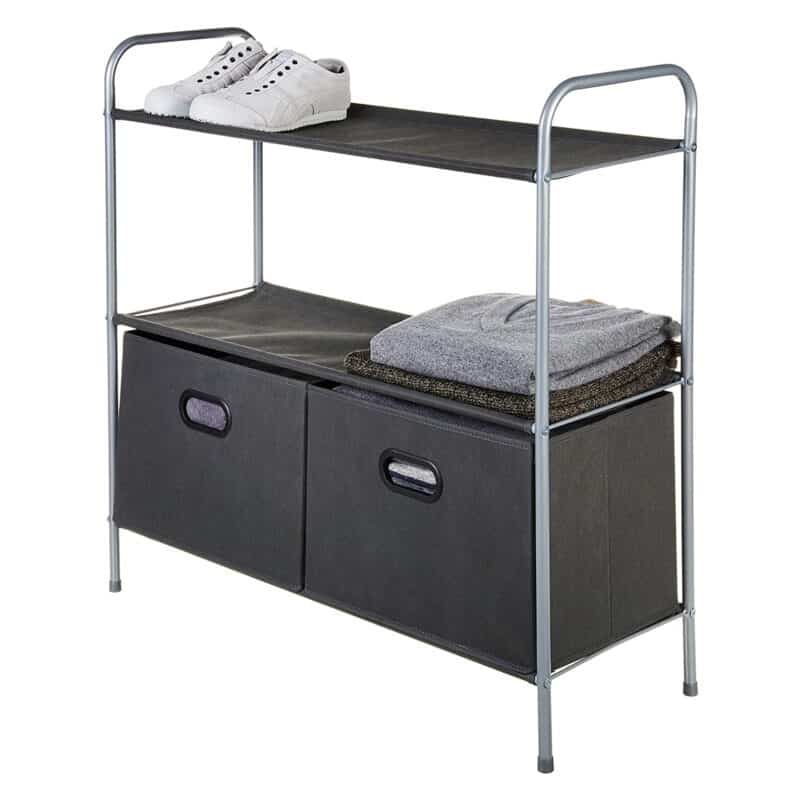 3-tier storage unit with canvas shelves and bins
