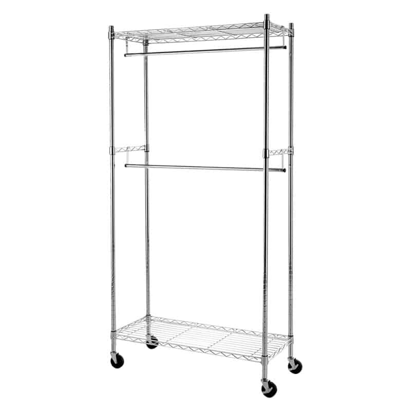 Double rail clothes rack with shelves