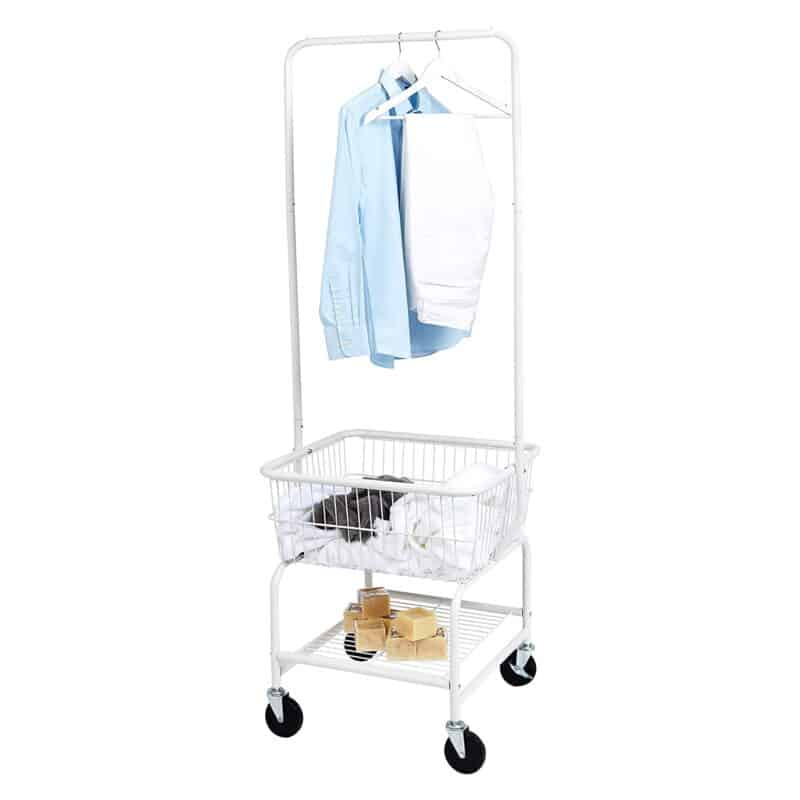 Laundry butler with hanging rail and basket