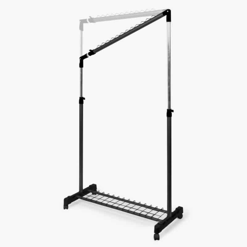 Adjustable leaning clothes rail