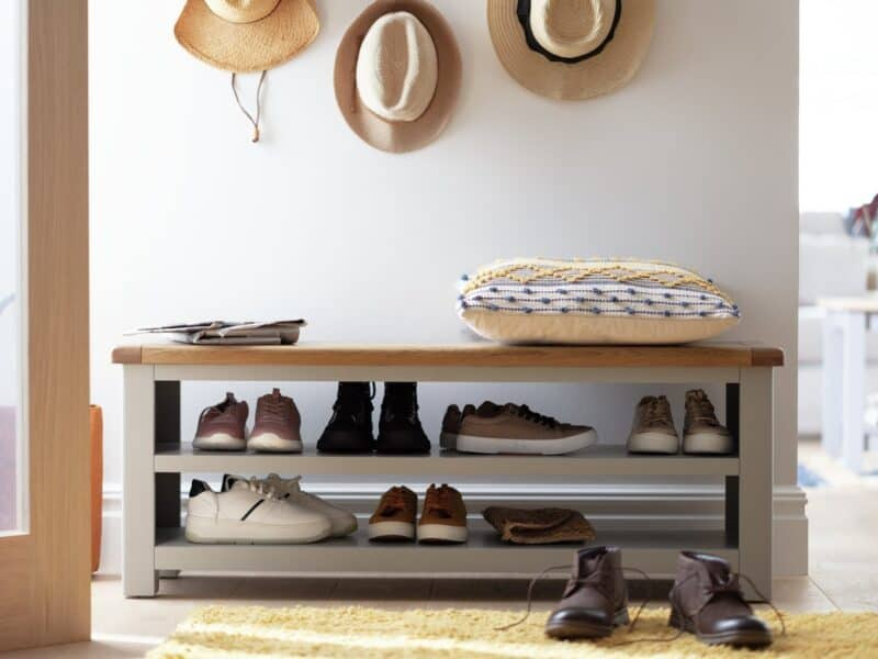 Grey-painted shoe bench