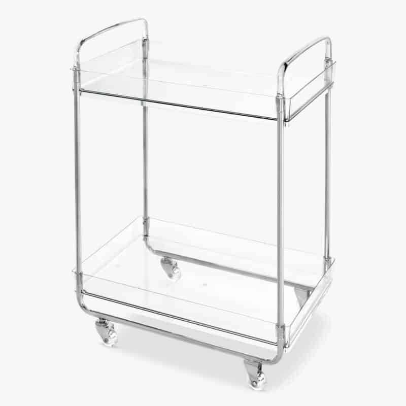 Storage trolley with clear Perspex shelves